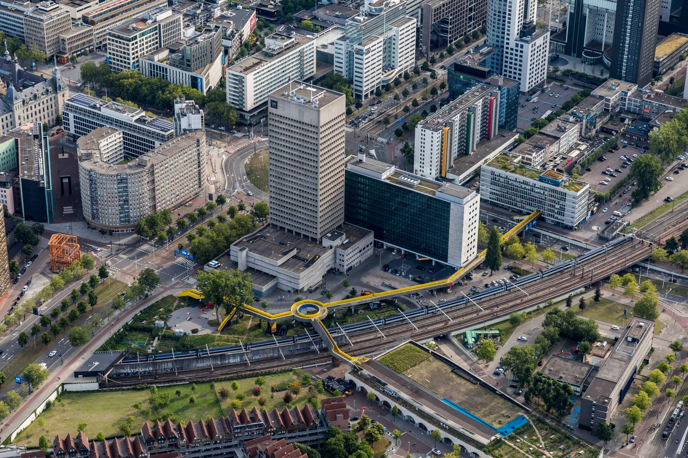 Aarial picture of Rotterdam city centre