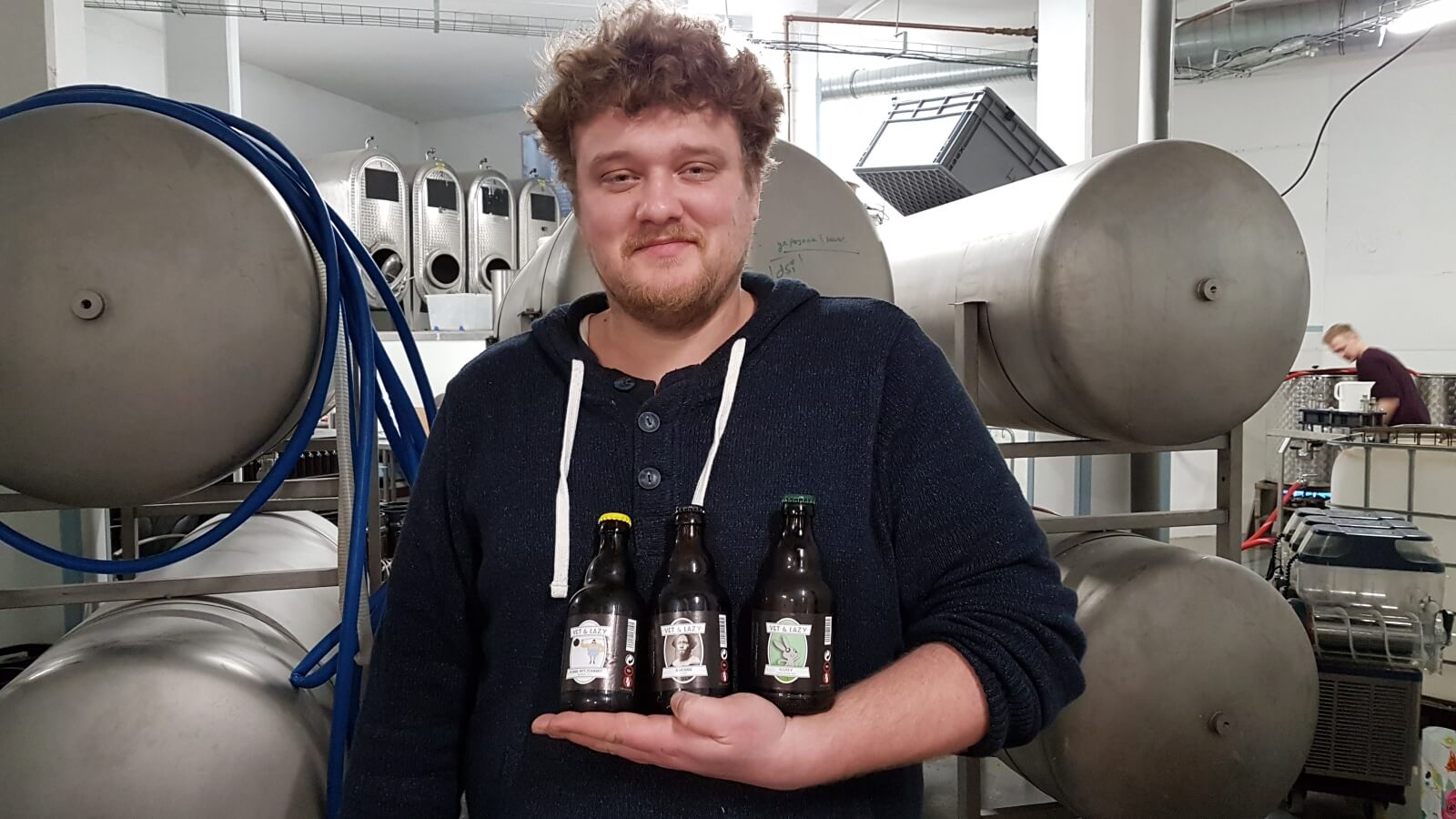 Ruben Krommenhoek with some of his beers, including 'Your Mother'