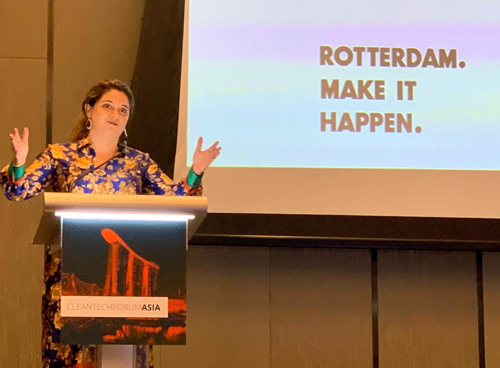 #RotterdamSingapore #CleanTech mission 2019, day 2: keynote speech by Vice Mayor Kathmann at Cleantech Forum Asia.