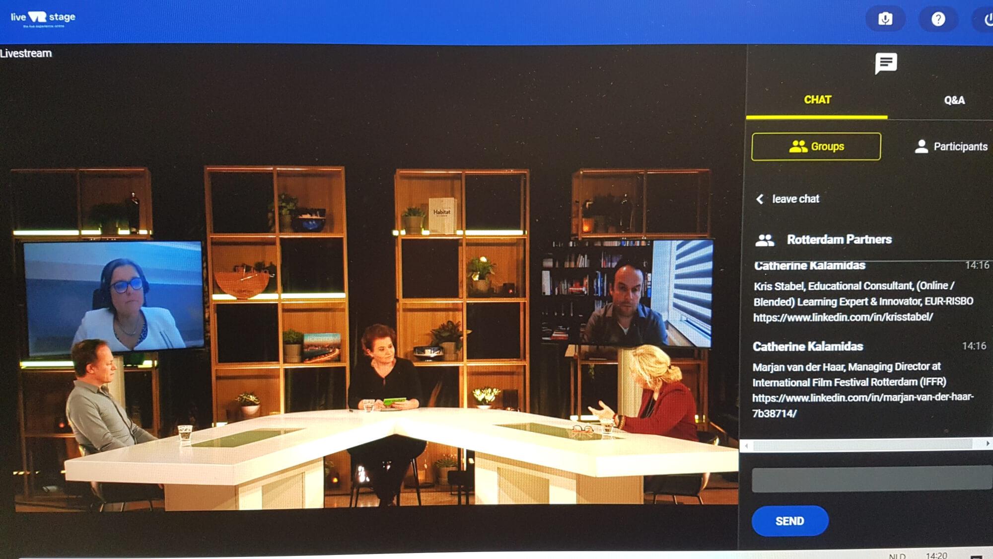 In the Live VR Stage studio, Mirjam van der Kamp had a Table Talk discussion with Carola van der Hoeff (FIP), Marjan van der Haar (IFFR), Yuri van Geest (Singularity University) and Kris Stabel (EUR-Risbo).